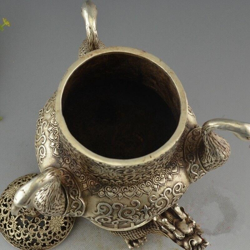 Rare chine Antique vieux tibétain argent Dragon tortue grue brûleur d'encens encensoir - 4
