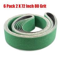 6pcs 2x72 80 Grit Sanding Belts Aluminum Oxide Sander Abrasive For Sander Kit