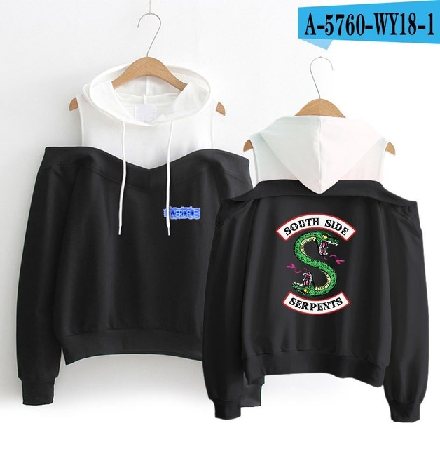 RIVERDALE SOUTH SERPENTS OFF SHOULDER HOODIE (15 VARIAN)