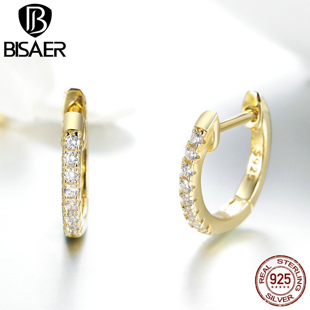 BISAER 925 Sterling Silver Crystal Simple Circle Stud Earrings for Women Round Circle title=