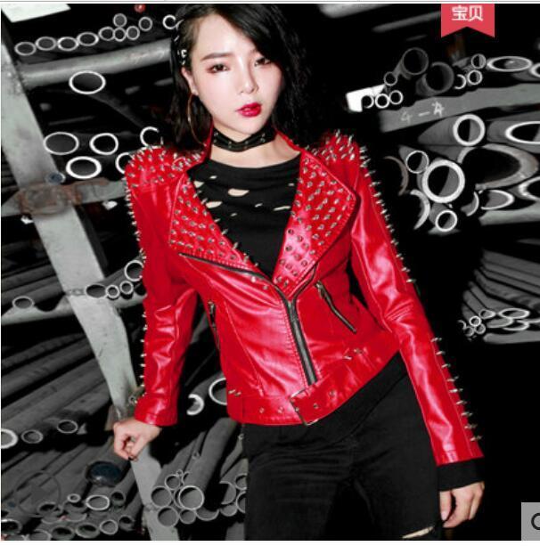 nouveau produit 67654 165cf 2019 nouveau automne et hiver veste de moto courte européenne américaine en  cuir punk rivet vestes synthétique polyuréthane