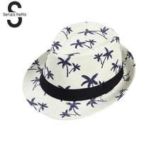 3122b9a610 Chapéu de Palha do verão Chapéus Para Adulto/Crianças dos miúdos Impressão  Coqueiro Chapéu Panamá Jazz Caps Casual Praia Pala de.