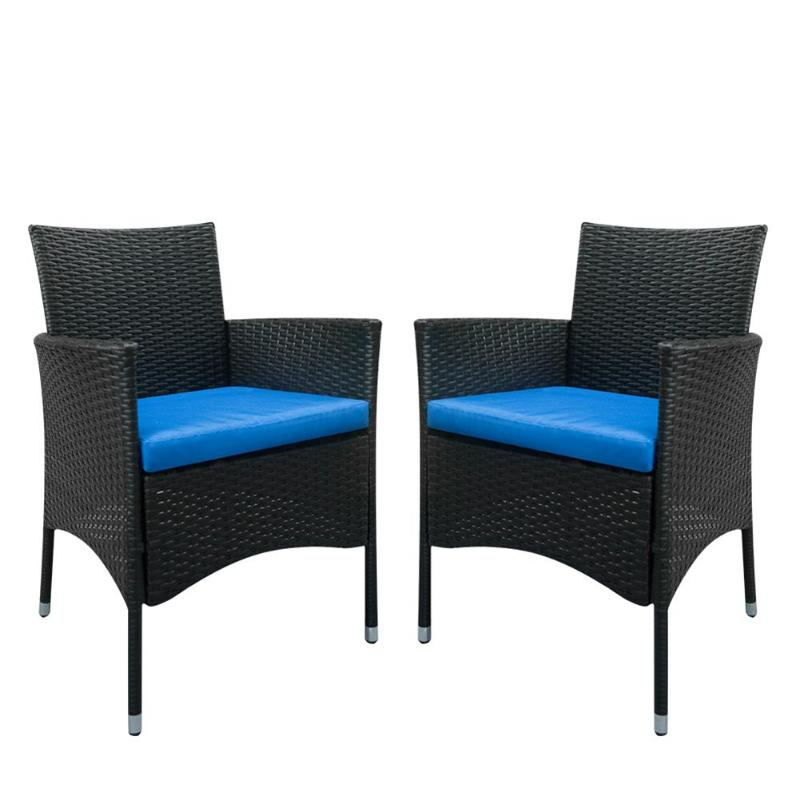 2Pcs Backrest Chairs Dining Chair Rattan Outdoor Cafe Furniture Kit For Home Office Decoration Leisure Garden Chair