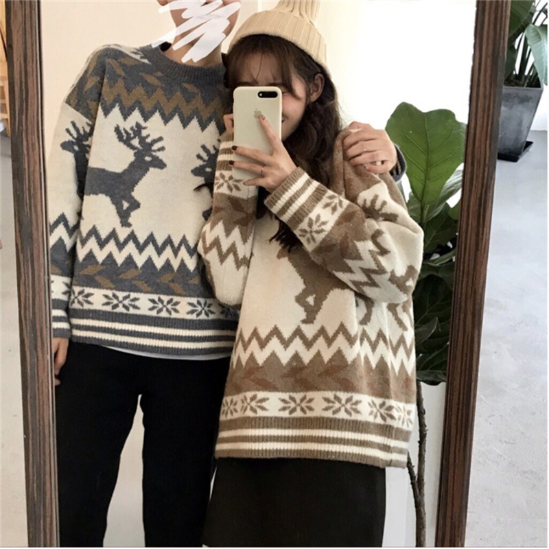 Pullover Man Couple Sweater Men Winter Knitting O-Neck Retro-Pattern Casual Fashion Long-Sleeved