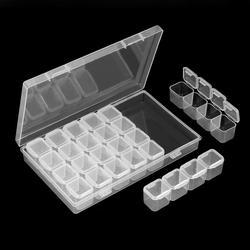 Caixa de plástico transparente para decoração de unhas, 28 espaços, arte de unha vazia, decoração, caixa de armazenamento, glitter, strass, acessórios, recipiente para ferramentas de unhas