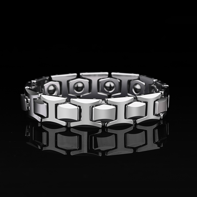 2019 New Arrival High Polished Tungsten Carbide Link Bracelets for Man with Black Magnet Stones for