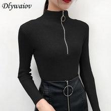 Пуловер с воротником хомутом на молнии женский свитер длинным