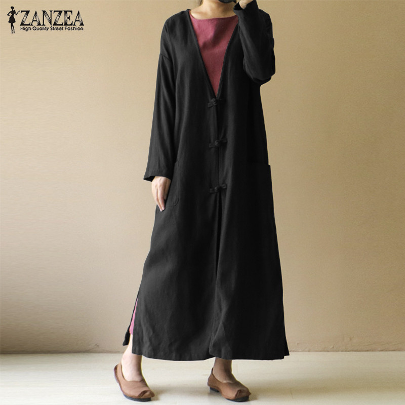 ZANZEA Women Vintage V Neck Long Sleeve Buttons Long Jackets Casual Female Loose Split Hem Vestido Cotton Linen Coat Cardigan