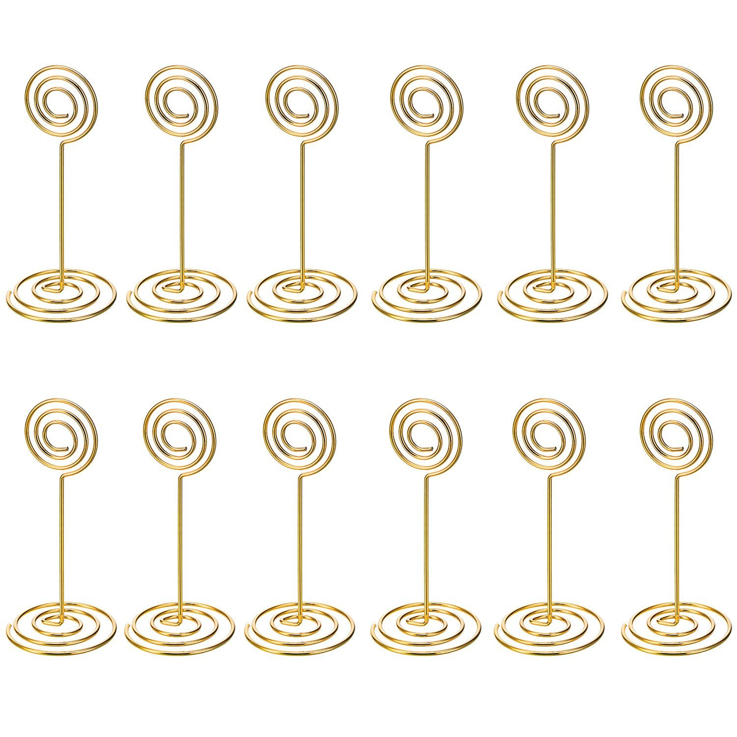 12 Pack Table Number Card Holders Photo Holder Stands Place Paper Menu Clips, Circle Shape (Gold) circle