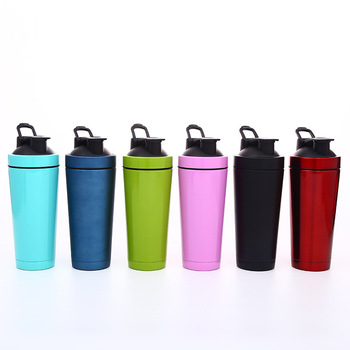 Heat Sell Double-deck Shaky Cup Protein Powder Will Capacity Stainless Steel Vacuum Cup Outdoors Portable Motion Cup