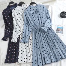 2019 Spring Women Polka Dots Dress Bow Knot Collar Elegant Vintage Fashion Pleated Blue Black White