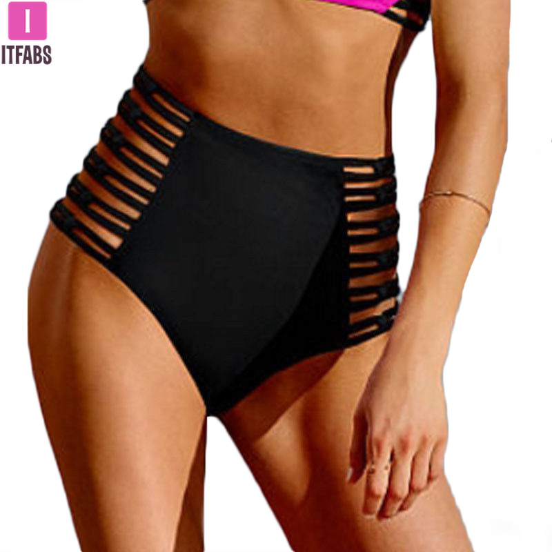High Waist Women Beachwear Panty 2019 Summer Sexy Hollow Out Bandage Bikini Bottom Swimsuits Swimwear Clothings Biquinis