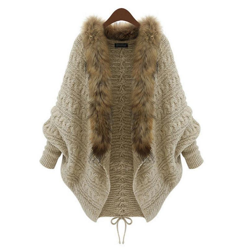 Women Cardigan Sweater Thick Femme Autumn Winter Batwing Sleeve Fur Collar Wool Sweater Knitted Long Cardigan One Size