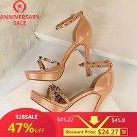 New Rivet Platform Sandals Heels Women Shoes High Heel Buckle Strap Sexy Thin High Heeled Nude Red Sandal Heels 34
