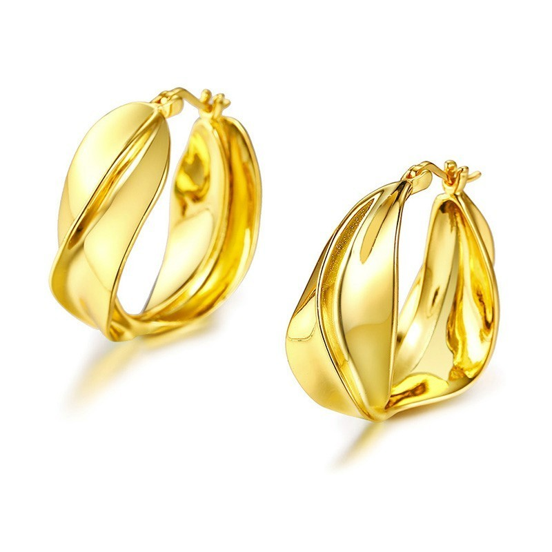 Golden Brass Twisted Hoops Earrings for Women Earing Jewelry Golden Brass Twisted Hoops Earrings for Women Earing Jewelry