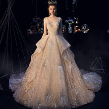 Vivian's Bridal Luxury Starry Sky Wedding Dress 2019 Fairy Ruffle Ruched Sequin Beading Appliques Chapel Train Bridal Dress(China)