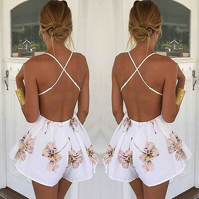 Summer Jumpsuits HOT Women Summer Sexy Sleeveless Deep V Neck Backless Print Strap Playsuits Size S-XL