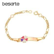 Цветной браслет с сердечком золотой детский детские украшения