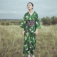Summer Traditional japanese kimono clothes Floral print green kimono robe Fashion womens kimono yukata obi as gift H9015