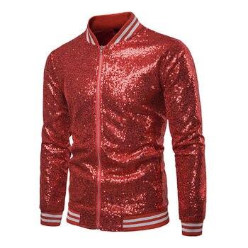 Men Formal Party Bar Garment Dance Coat Sequin Blazer Suit Jacket Tuxedo Wedding Solid Sequined Zipper