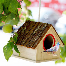 Bird Supplies Home & Garden Cabin Diy Garden Wooden Outdoor Tree For Parrot Simulated Bark Bird Nest Hemp Rope Hanging Cage Home Decor House Shape Year-End Bargain Sale
