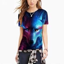 Casual Short Sleeve Tshirt Tops Unisex Fashion 3D Digital Wolf Pattern Shirt streetwear t shirt women clothes 2019