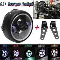 1 stücke Motorrad LED Angel Eye Hohe Abblendlicht für Harley Scheinwerfer Lampe Universal Front Licht Cafe Racer mit Klammern