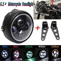 1pcs Motorcycle LED Angel Eye High Low Beam for Harley Headlight Lamp Universal Front Light Cafe Racer with Brackets