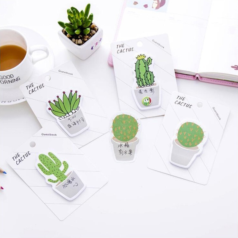 Small Fresh Cactus Series Sticky Notes Self-adhesive Memo Pads DIY School Student Stationery And Office Supplies 1PCS