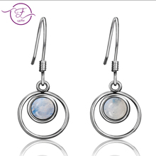 New Products S925 Sterling Silver Earrings Natural Moonstone Round 6MM Engagement Party Anniversary Gifts Wholesale