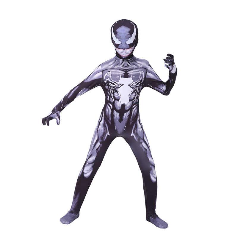 Venom disfraz Cosplay de superhéroe niños Venom Cosplay disfraz Spider-boy Venom disfraz chicos Bodysuit Halloween disfraz niños