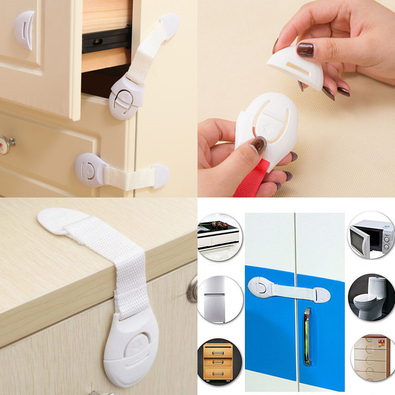 1PC Hot Wholesale Kids Baby Safety Door Lock Proof Cupboard Cabinet Prevent Cabinet Locks Straps Safety Door Lock Proof Cupboard