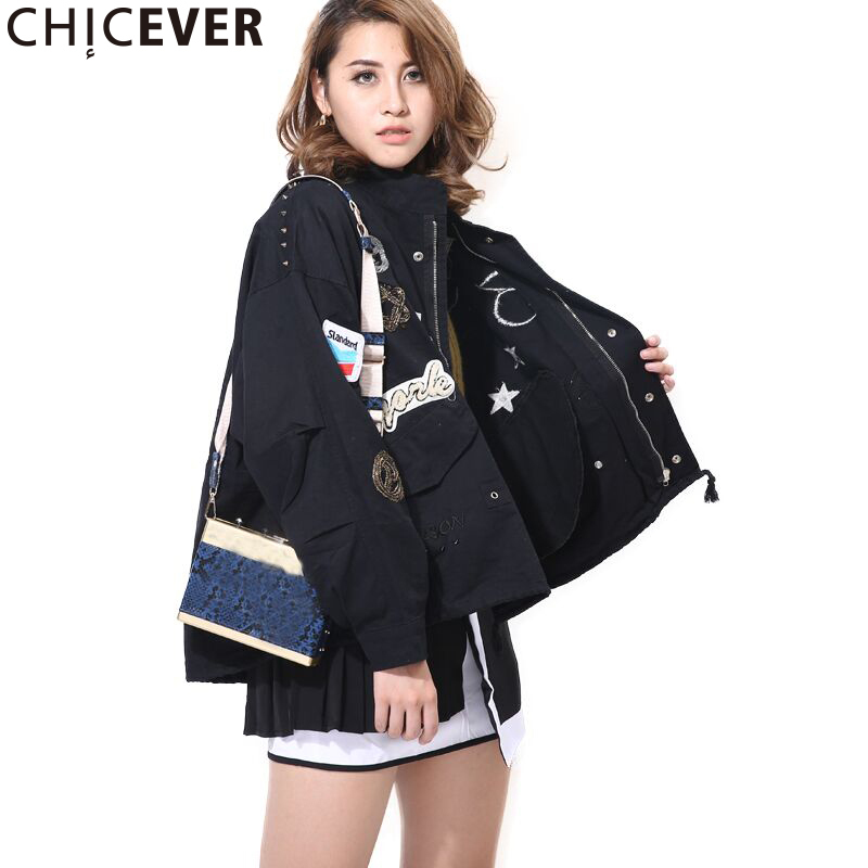 CHICEVER Black Embroidery Women   Jacket   Feamle Coat Long Sleeve Loose Big Size Autumn Women's   Basic   Coats Fashion Clothes 2017
