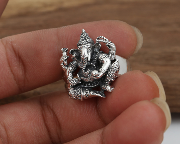 Image 3 - Handmade 925 silver ring elephant fortune buddha finger ring  vingtage sterling silver good luck ring Thailand Ganesh ringfinger  ringjewelry rings925 silver ring
