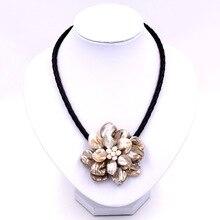Модное ювелирное бежевое ожерелье с белым жемчугом из плетеной кожи