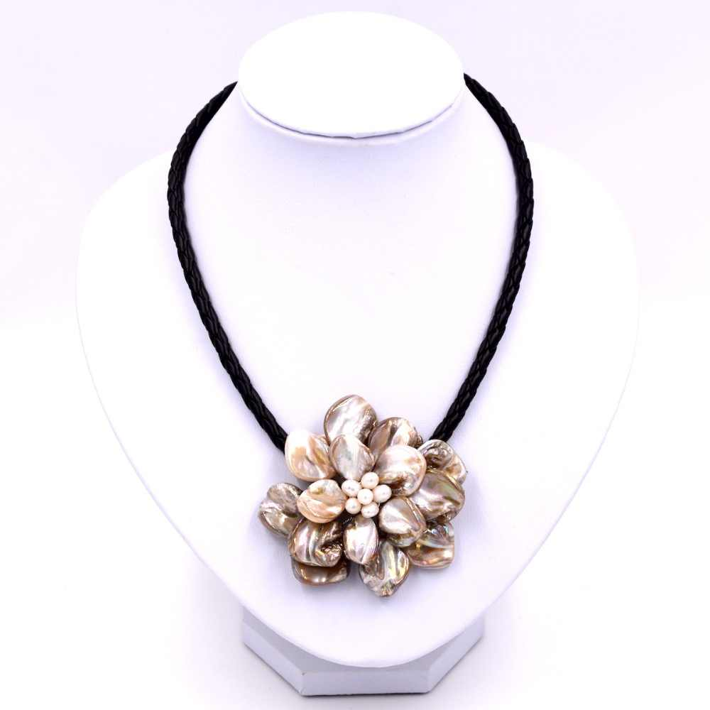 Fashion jewelry beige mop shell white pearl necklace with woven leather
