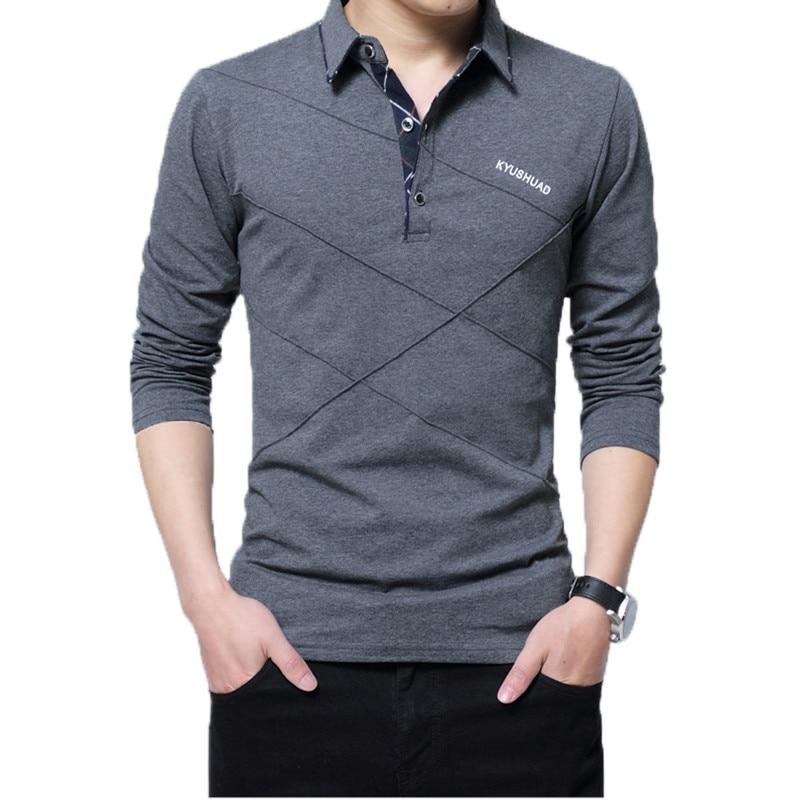 5XL Polo Shirt Collar Men Plus Size 3XL 4XL Autumn Button Brand Men Polo Shirt Long Sleeve Casual Male Shirt Dress Polo Shirts