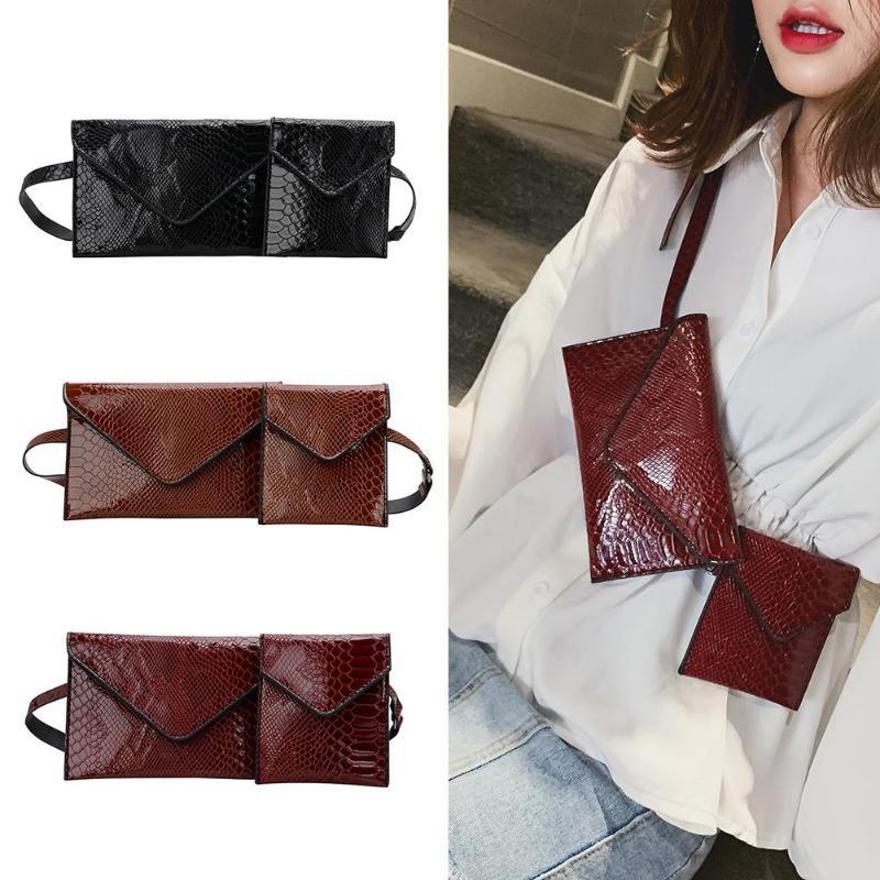 Girls Casual Solid Color 2pcs/set Alligator Pattern Shoulder Waist Chest Bags Women Fanny Belt Handbags 2019 New Fashion