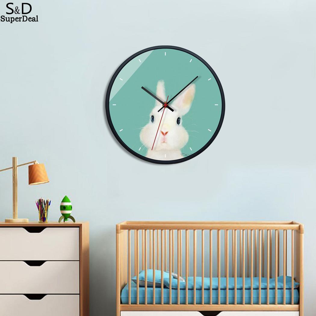 Mignon Modèle Animal de Bande Dessinée Ronde Moderne 30.5 cm/12.0 pouces Accueil 1 x AA batterie (non inclus) chambre horloge murale