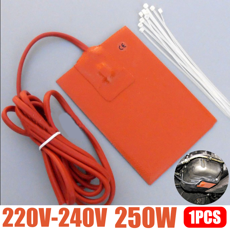 1pc 250W 9x13cm Engine Oil Pan Sump Tank Heater Pad 220V Silicone Heater Pad Block Hydraulic Tank Heating Plate