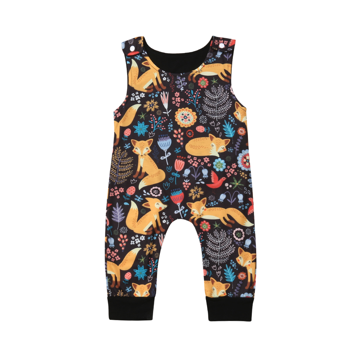 Cartoon Fox Newborn Infant Baby Boy Girls   Rompers   Sleeveless Baby Jumpsuit Playsuit
