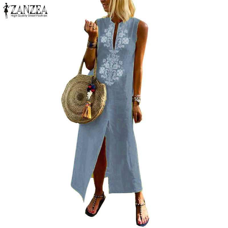 eefadeae9cb Plus Size ZANZEA Women Summer Sleeveless Floral Printed Long Dress Split  Hem Solid Cotton Linen Dresses