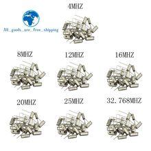 Hc-49s oscilador de cristal kit eletrônico ressonador de quartzo cerâmica Hc-49 dip 7 tipos x 5 pçs 32.768k 4 8 12 16 20 25 mhz
