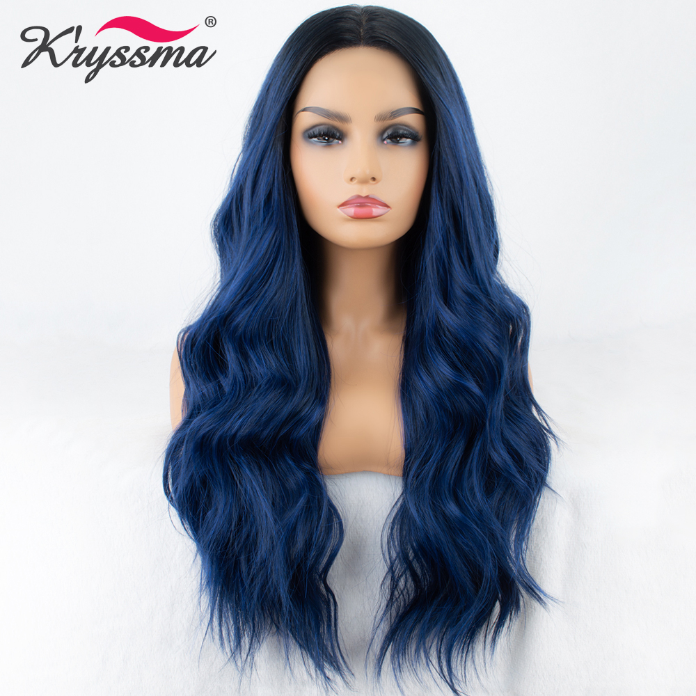 Mixed Blue Synthetic Lace Front Wig Long Wavy Ombre Blue Wigs For Women Dark Roots 2 Tones Hair Glueless High Temperature Fiber(China)
