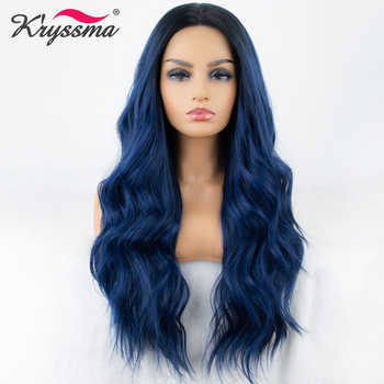 Mixed Blue Synthetic Lace Front Wig Long Wavy Ombre Blue Wigs for Women Dark Roots 2 Tones Hair Glueless High Temperature Fiber - DISCOUNT ITEM  49% OFF All Category