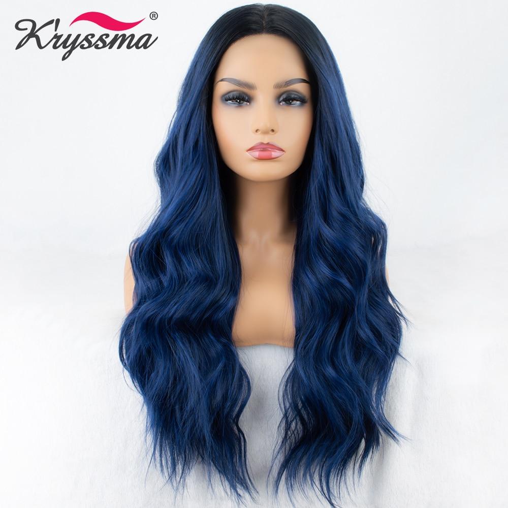 Perruque avant en dentelle synthétique bleue mélangée longue ondulée Ombre bleu perruques pour femmes racines foncées 2 tons cheveux sans colle Fiber haute température