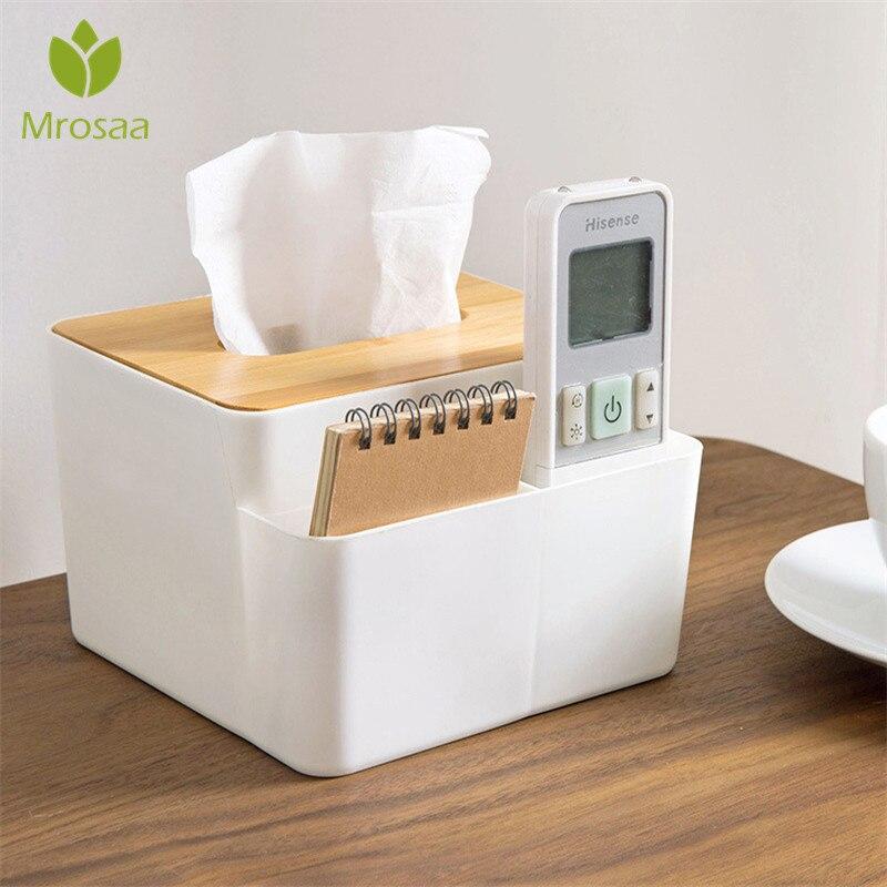 Multifunctional Wooden Tissue Box Container Towel Napkin Tissue Holder Paper Dispenser Tissue Holder Case for Office Home Decor
