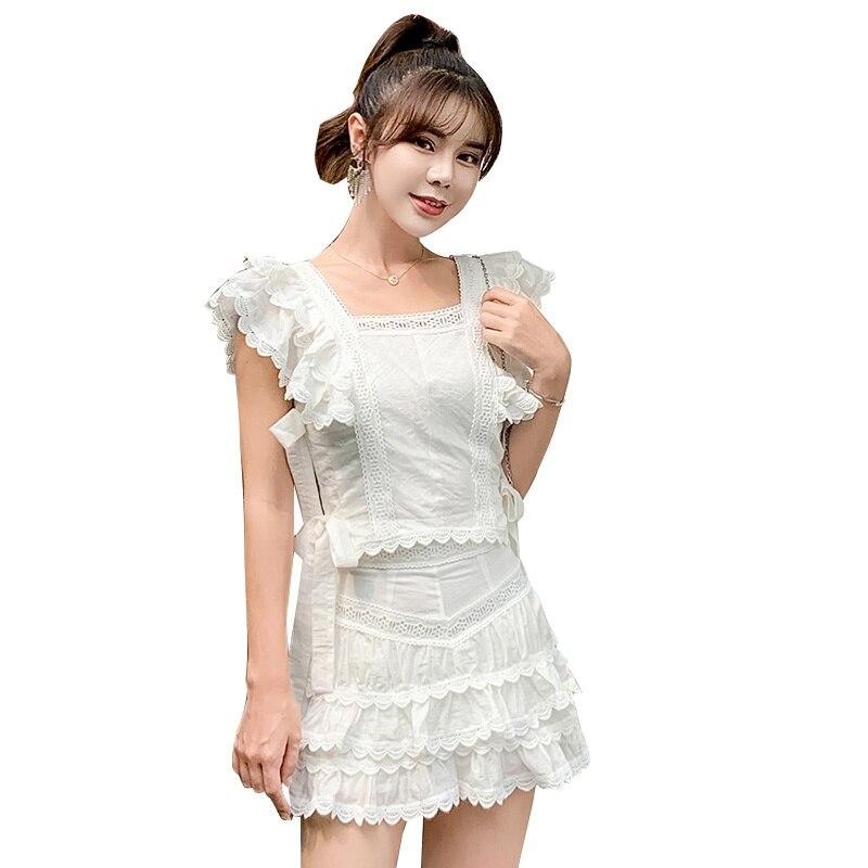 2019 여성 여름 옷 세트 속이 빈 자 수 짧은 탑 + 주름 짧은 바지 섹시 한 세련 된 clubwear 2 조각 세트 고품질
