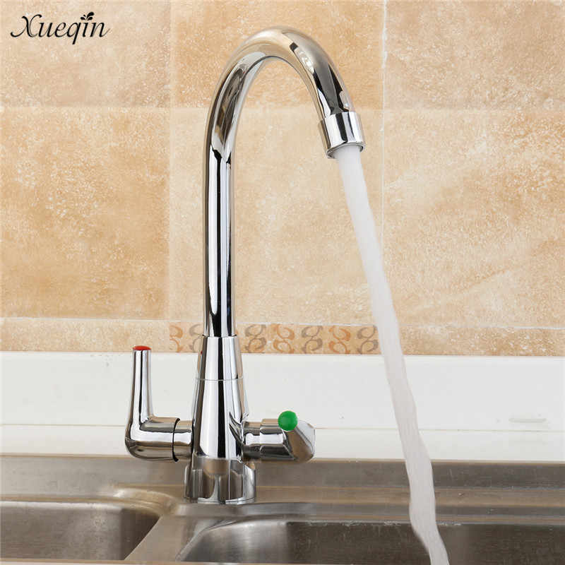 Xueqin Twin Lever Modern Chrome Kitchen Faucets 90Degree Rotation Spout Sink Basin Mixer Tap Double Handle Deck Mounted