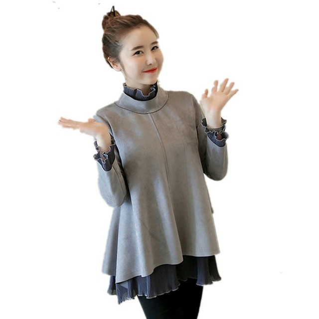 MODENGYUNMA Maternity Clothes Autumn And Winter New Fashion Pregnant Woman  Dress Pleated Long Sleeve High Collar Tops Vestidos